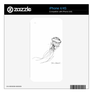 Jellyfish Black & White Drawing Skins For The iPhone 4