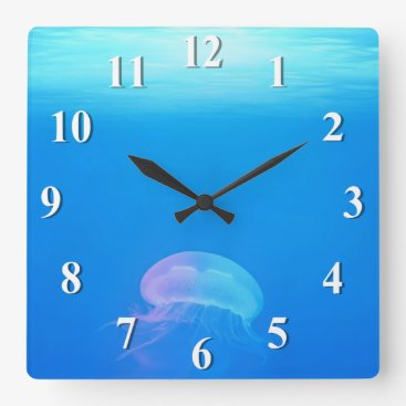 Ocean Themed Jellyfish Blue Light Square Wall Clock