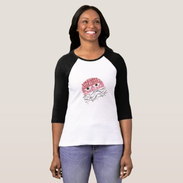 Beach Themed Jellyfish Comb No Background Women's Raglan Top