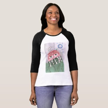 Beach Themed Jellyfish Comb Women's Raglan Top