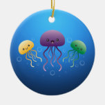 Jellyfish Double-Sided Ceramic Round Christmas Ornament