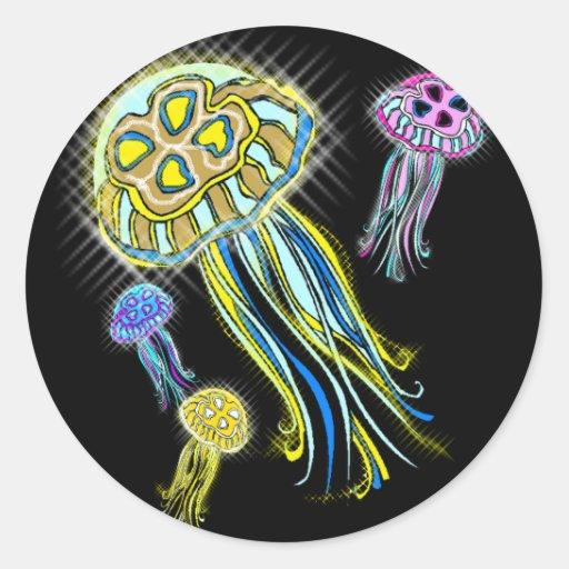 Jellyfish Group Round Stickers