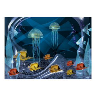 Jellyfish Hanging Together with fish Poster