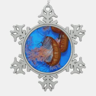 Jellyfish in an Aquarium Snowflake Pewter Christmas Ornament