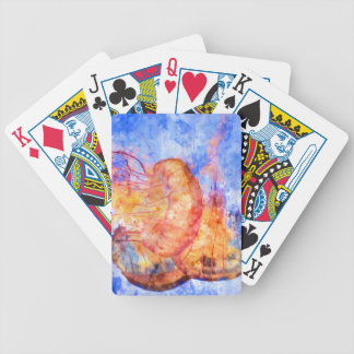 Jellyfish in the Ocean Watercolor Bicycle Playing Cards