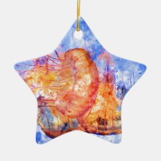 Jellyfish in the Ocean Watercolor Ceramic Ornament