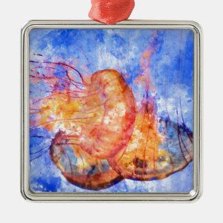 Jellyfish in the Ocean Watercolor Metal Ornament