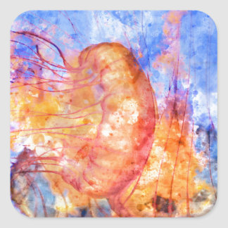 Jellyfish in the Ocean Watercolor Square Sticker