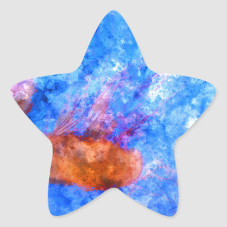 Jellyfish in the Ocean Watercolor Star Sticker