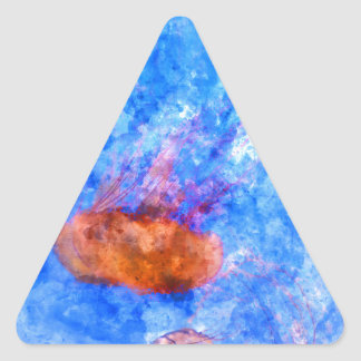 Jellyfish in the Ocean Watercolor Triangle Sticker