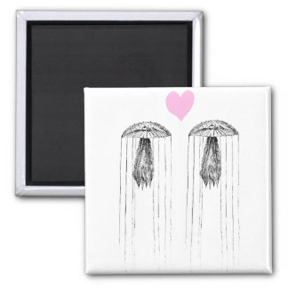 Jellyfish Love 2 Inch Square Magnet