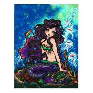 Jellyfish Mermaid Fantasy Marine Art Postcard