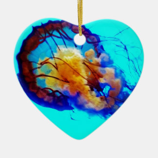 Jellyfish / Pacific Sea Nettle / Double-Sided Heart Ceramic Christmas Ornament