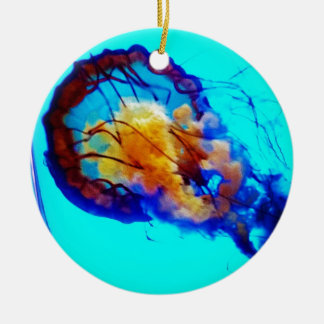 Jellyfish / Pacific Sea Nettle / Double-Sided Ceramic Round Christmas Ornament