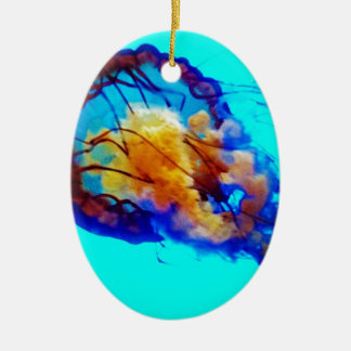 Jellyfish / Pacific Sea Nettle / Double-Sided Oval Ceramic Christmas Ornament