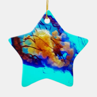 Jellyfish / Pacific Sea Nettle / Double-Sided Star Ceramic Christmas Ornament