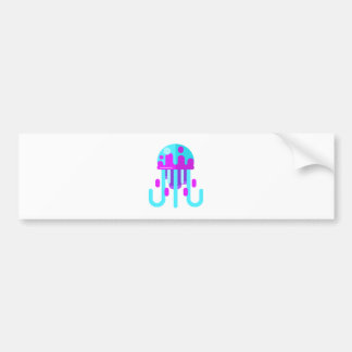 Jellyfish Primitive Style Bumper Sticker