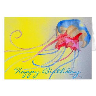 Jellyfish sea creature original art birthday card