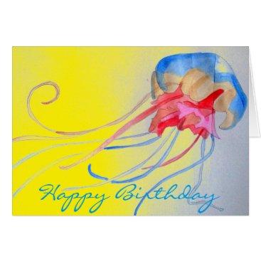 Beach Themed Jellyfish sea creature original art birthday card