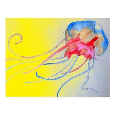 Beach Themed Jellyfish sea creature original art illustration postcard