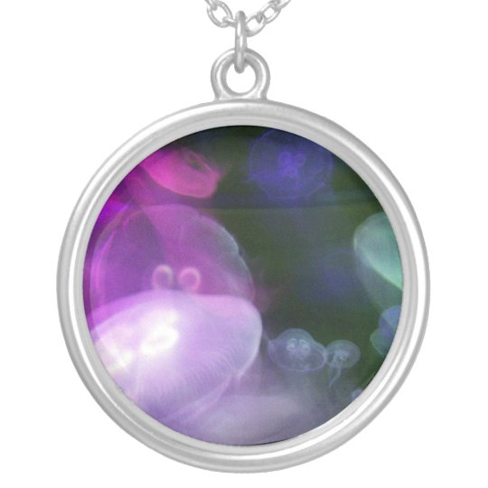jellyfish silver plated necklace