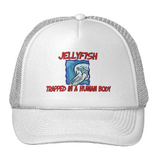 Jellyfish trapped in a human body trucker hat