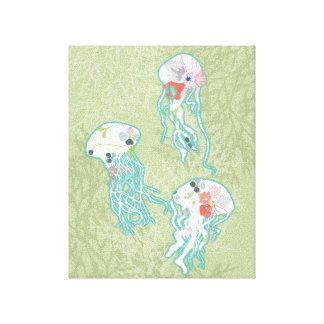 Jellyfishes on pastel green stretched canvas prints