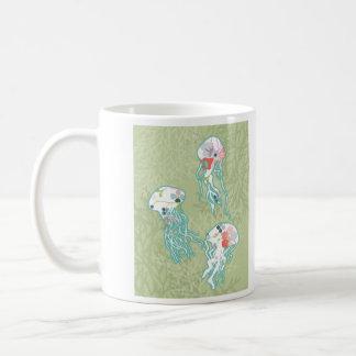 Jellyfishes on pastel green, coffee mug