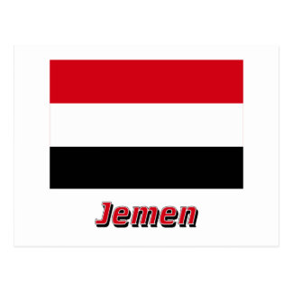 Jemen Flagge mit Namen Postcard