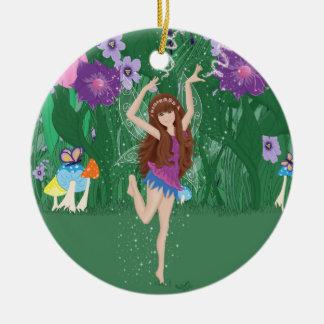Jen the Dancing Flower Fairy Ceramic Ornament