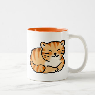jengibre mullido lindo y gato blanco taza