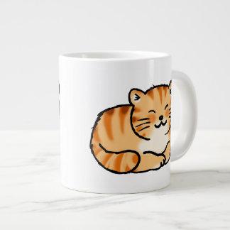 jengibre mullido lindo y gato blanco taza de café gigante