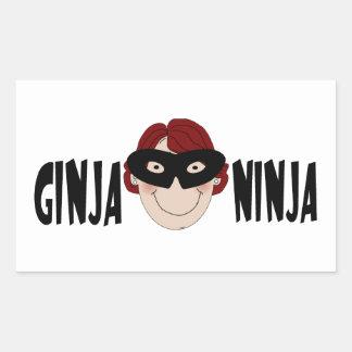 Jengibre Ninja Pegatina Rectangular