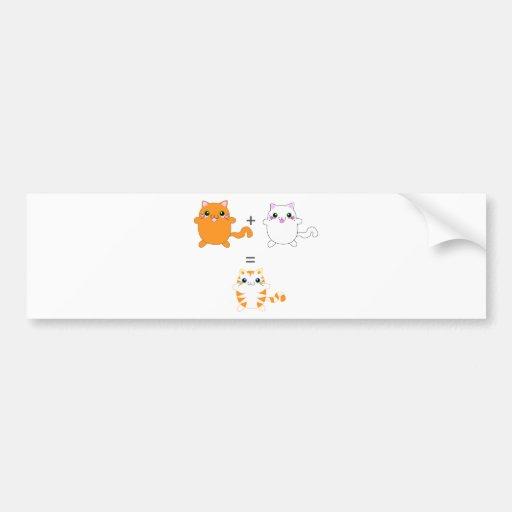 Jengibre y gatos blancos divertidos pegatina de parachoque