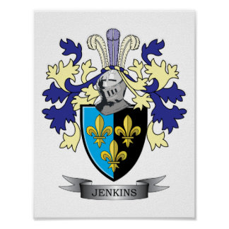 Jenkins Family Crest Coat of Arms Poster