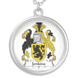 Jenkins Family Crest Round Pendant Necklace