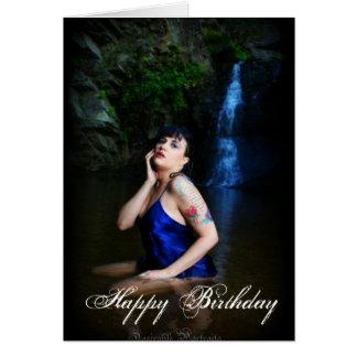 Jenn Martin (blue dress, waterfall) Birthday Card