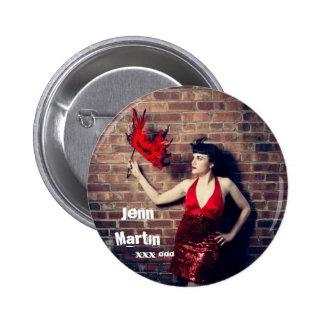 Jenn Martin (red dress masquerade) Button