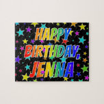 "[ Thumbnail: ""Jenna"" First Name, Fun ""Happy Birthday"" Jigsaw Puzzle ]"