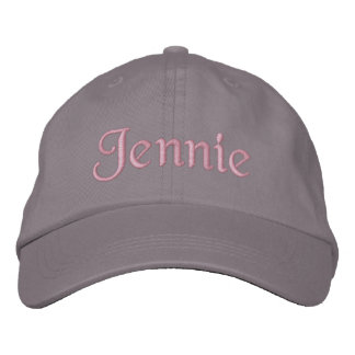 Jennie Embroidered Baseball Cap Hat Pink Gray