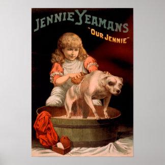 Jennie Yeamans perro que se lava del chica de nue Posters