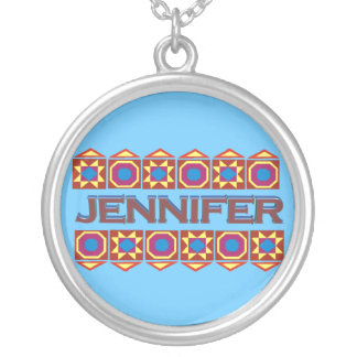 Jennifer Abstract art southwestern over lightblue Round Pendant Necklace