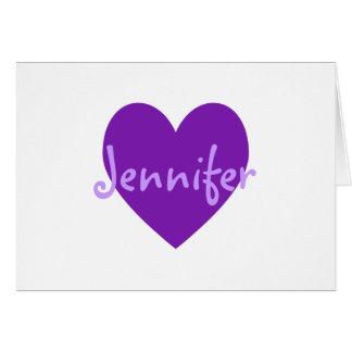 Jennifer en púrpura tarjeta de felicitación