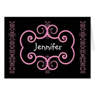 JENNIFER - Thank You Bridesmaid Pink Art Deco Card
