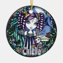 jenny, cute, angel, ragdoll, gramaphone, flowers, fairy, kids, children, faery, fae, faerie, fantasy, art, big, eyed, myka, jelina, mika, angels, Ornament with custom graphic design