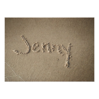Jenny Name in Beach Sand Writing Poster