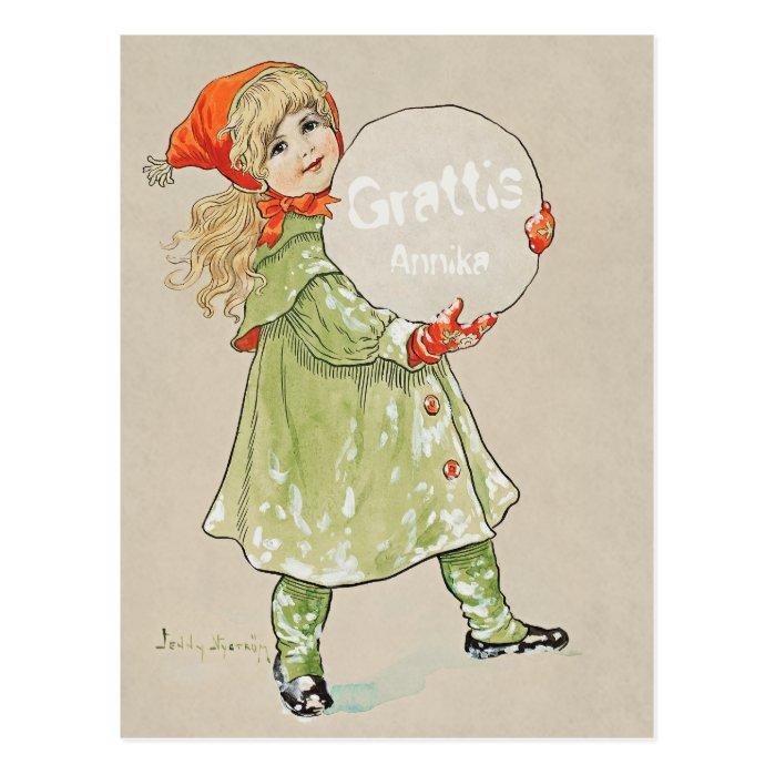 Jenny Nyström Flicka med snöboll CC0819 Grattis Postcard