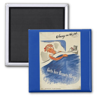 Jenny on the Job Gets Her Beauty Sleep 2 Inch Square Magnet