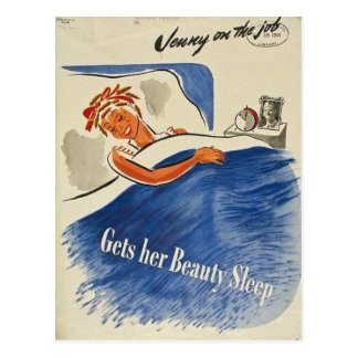 Jenny on the Job Gets Her Beauty Sleep Vintage Postcard