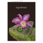 Jenny the chameleon birthday card